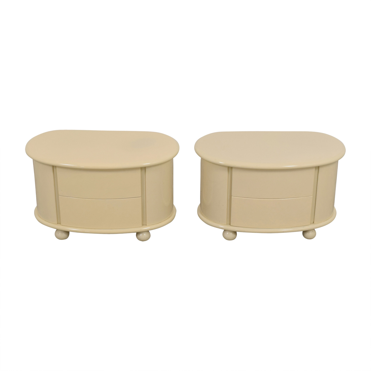 Vanilla Lacquered Oval Two-Drawer Night Tables / End Tables
