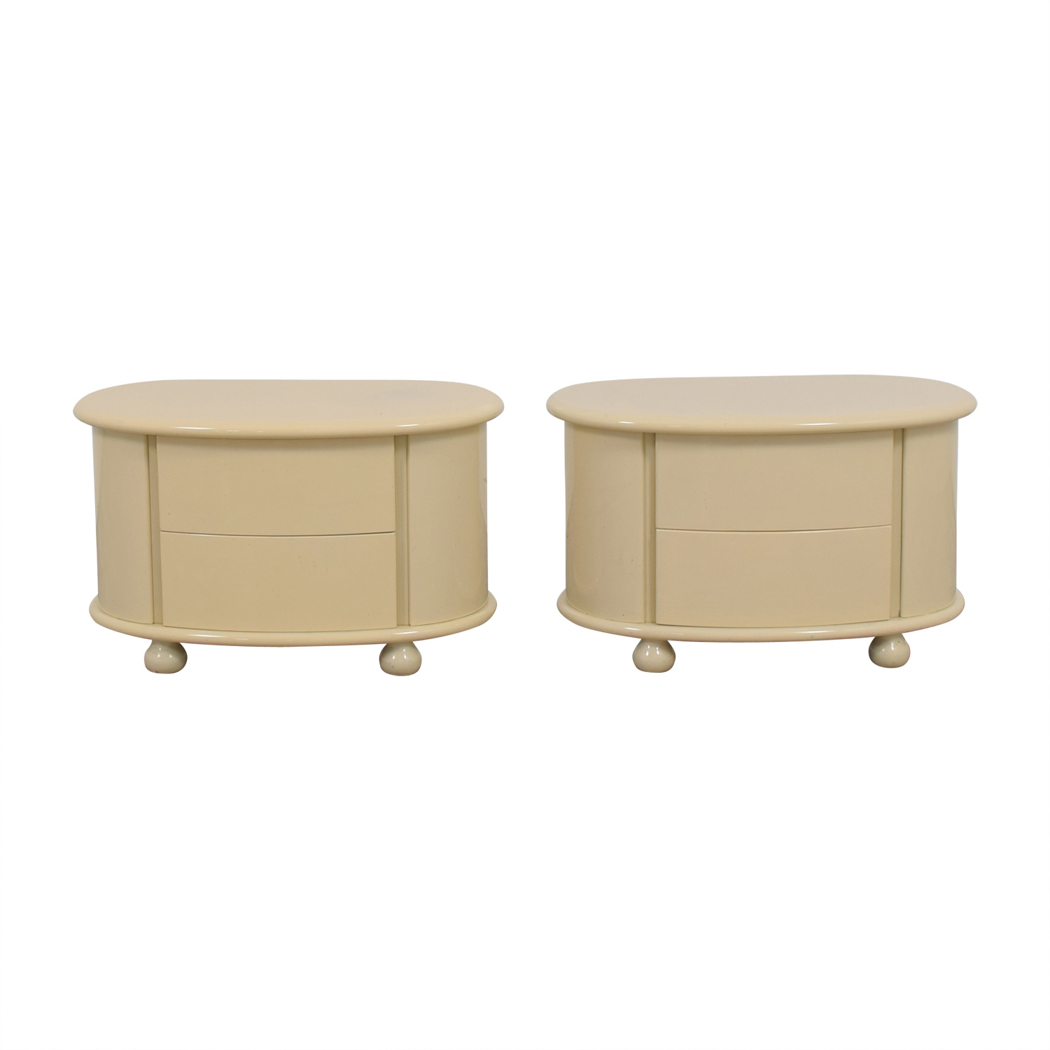 Vanilla Lacquered Oval Two-Drawer Night Tables discount