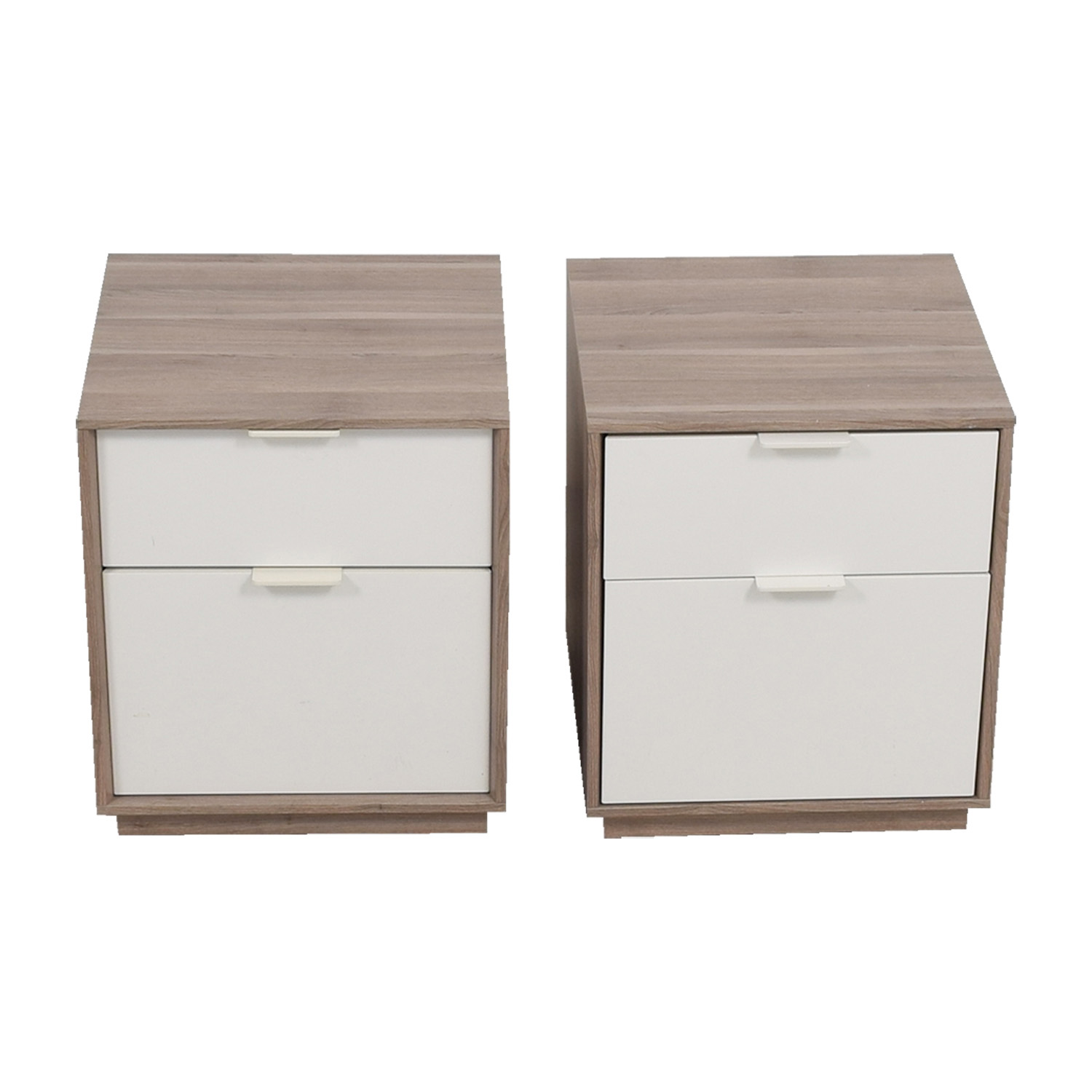 Grey and White Two-Drawer Nightstands used