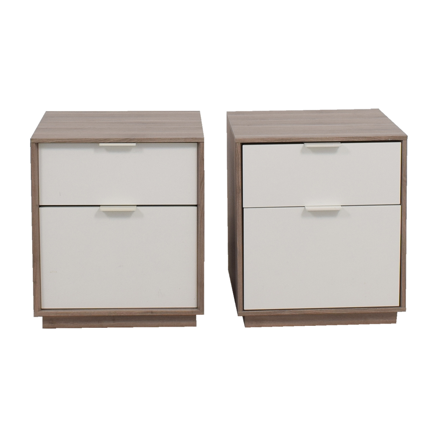 Grey and White Two-Drawer Nightstands / Tables