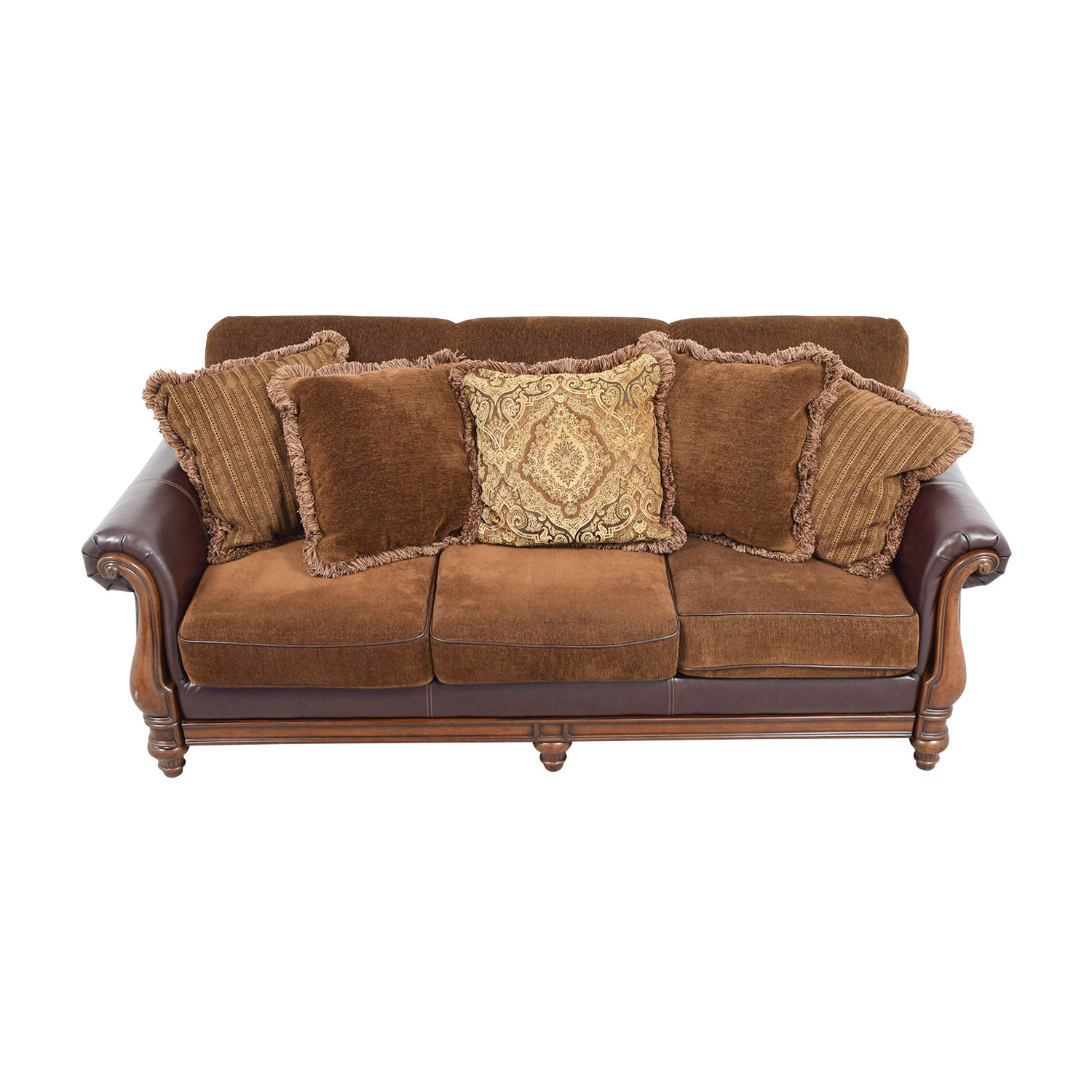 Ashley Furniture Ashley Furniture Brown Mixed Fabric Deep Seated Sofa Brown/tan
