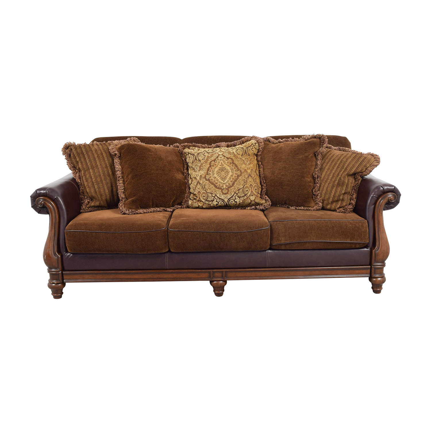 OFF Ashley Furniture Ashley Furniture Brown Mixed Fabric Deep