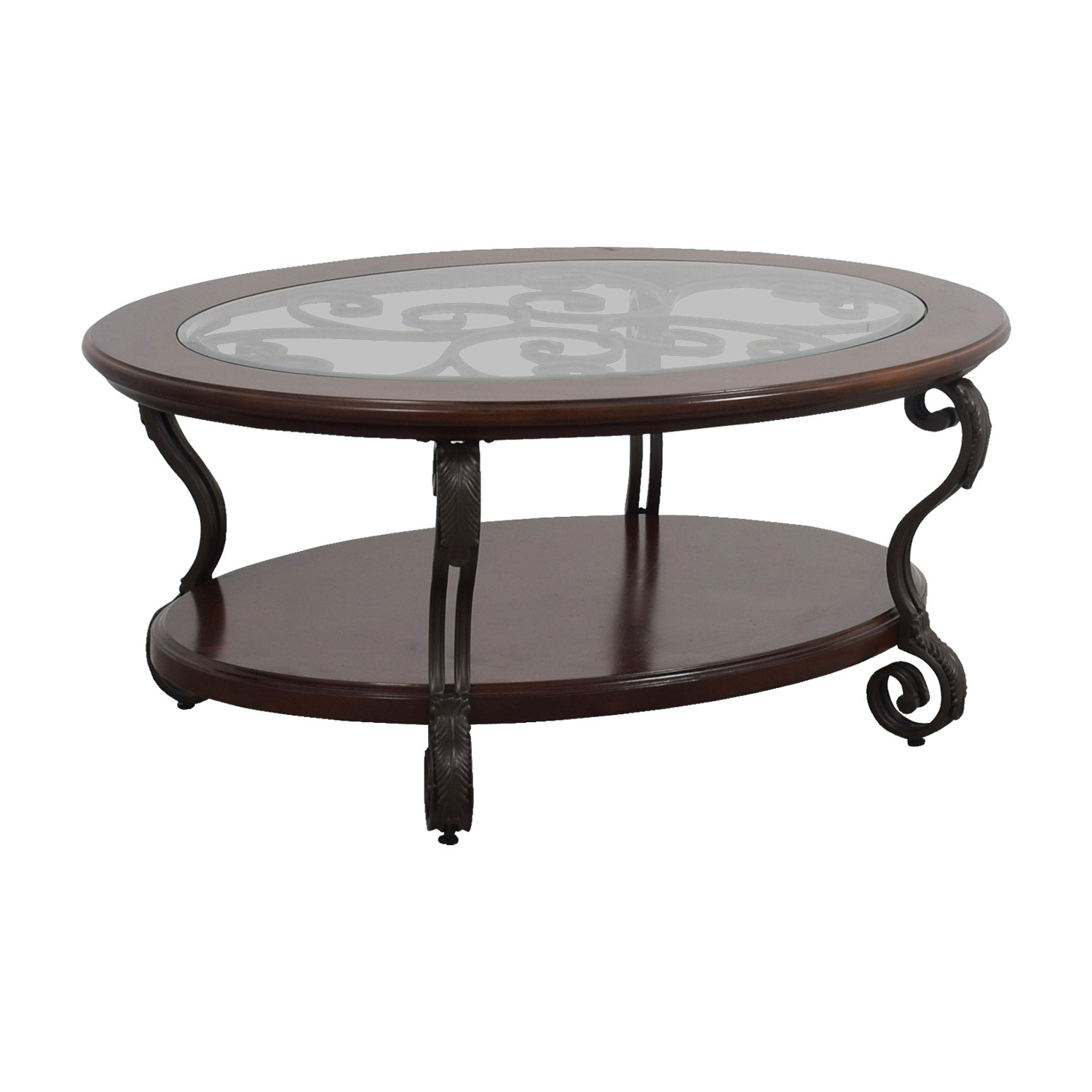 90 Off Ashley Furniture Ashley Furniture Oval Glass Wood And Metal Scroll Coffee Table Tables