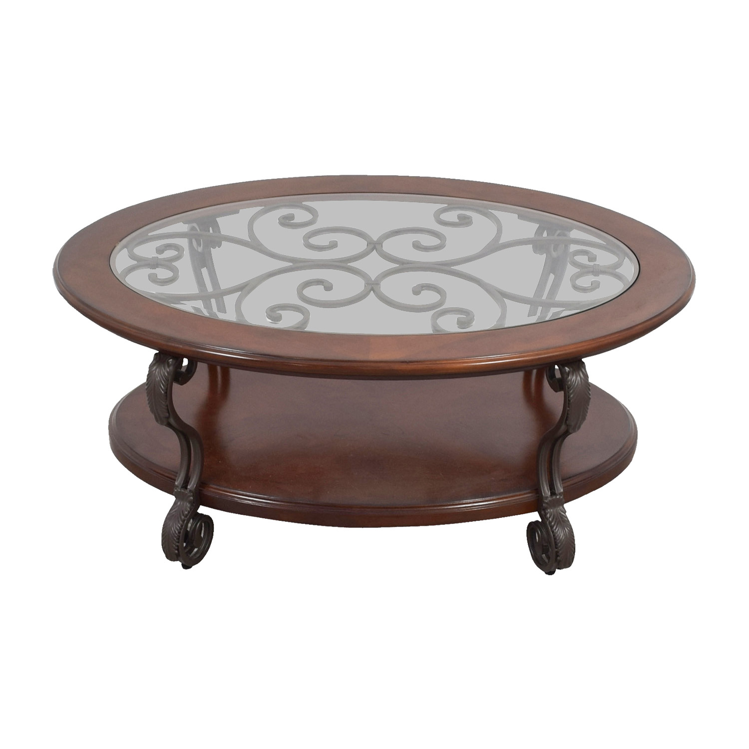 Ashley Furniture Oval Glass Wood and Metal Scroll Coffee Table Ashley Furniture