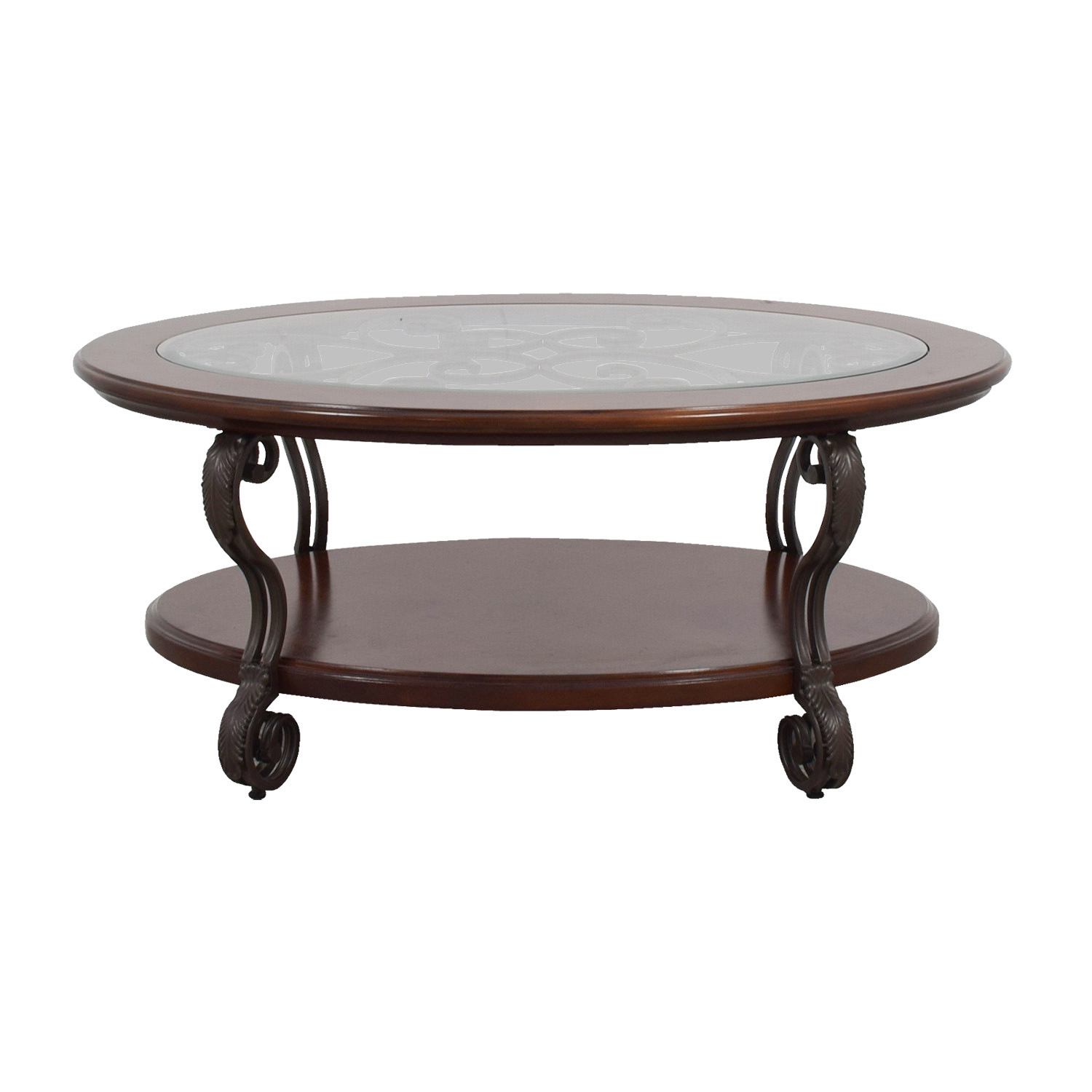 buy Ashley Furniture Ashley Furniture Oval Glass Wood and Metal Scroll Coffee Table online