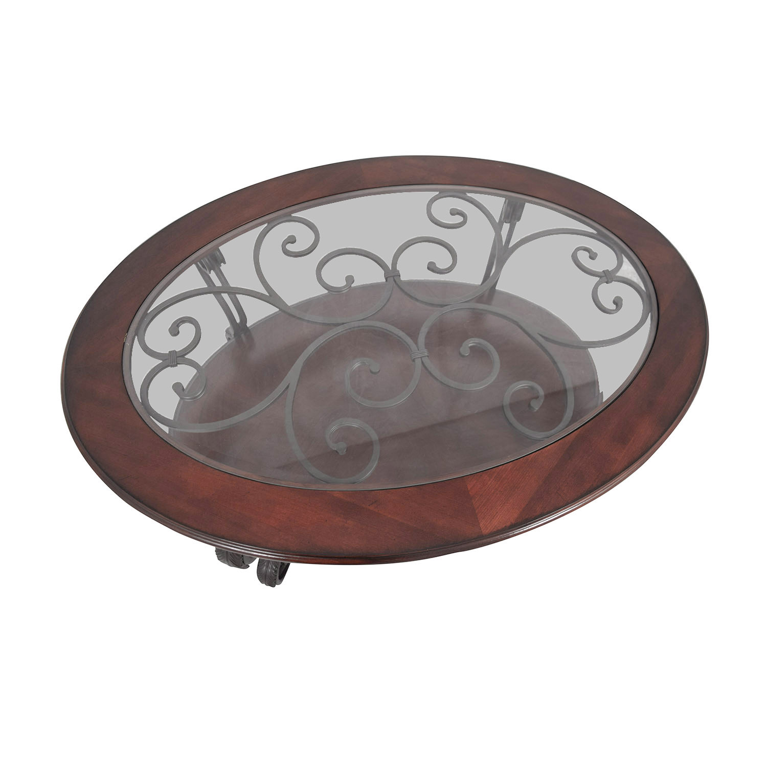 Oval Wood And Metal Coffee Table: Ashley Furniture Ashley Furniture Oval Glass