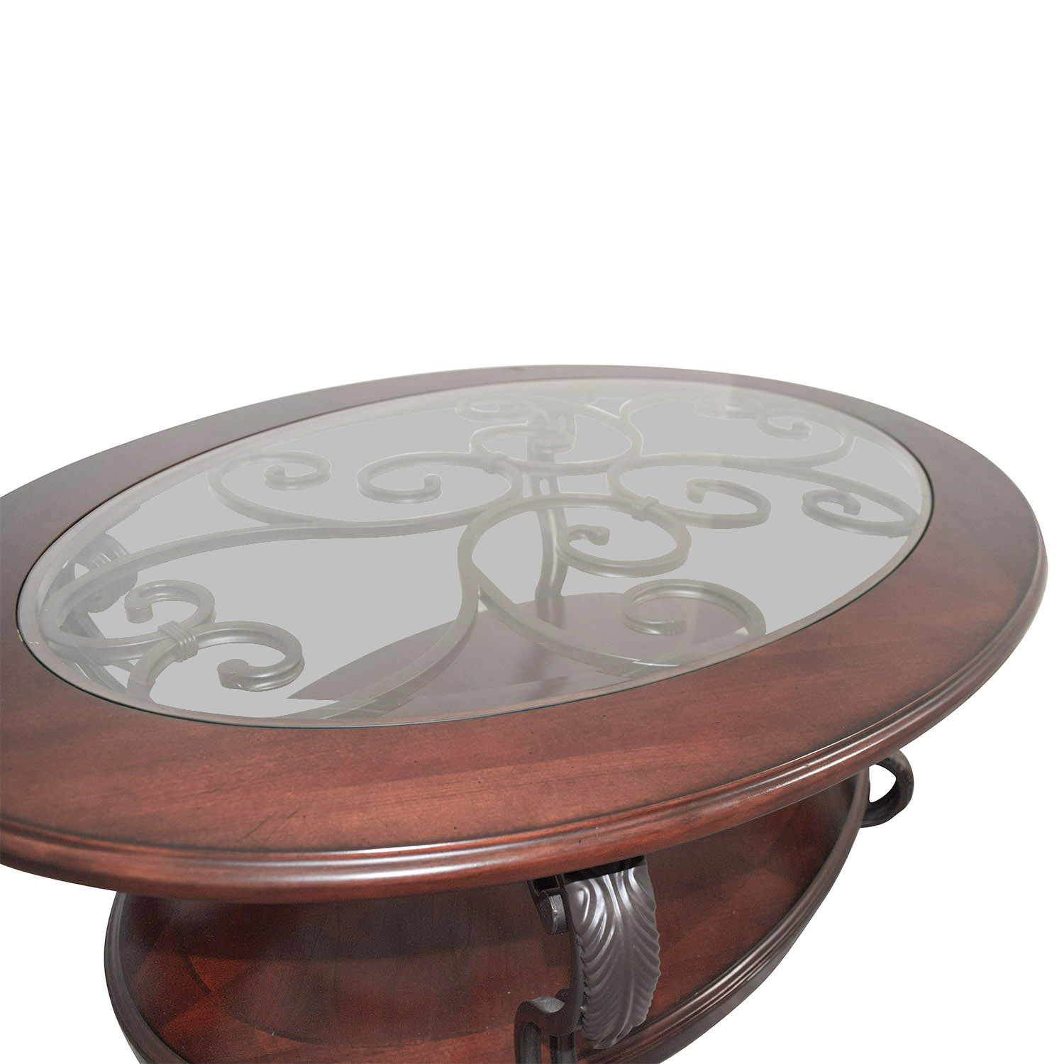 Large Oval Wood Coffee Table: Ashley Furniture Ashley Furniture Oval Glass