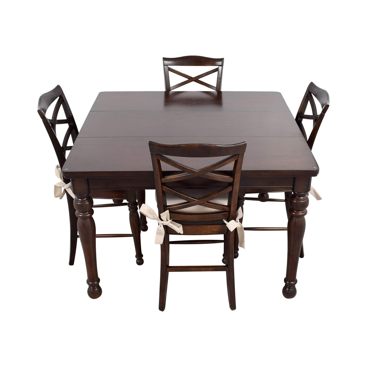 ... Ashley Furniture Dark Wood Dining Set With Seat Cushions / Tables ...