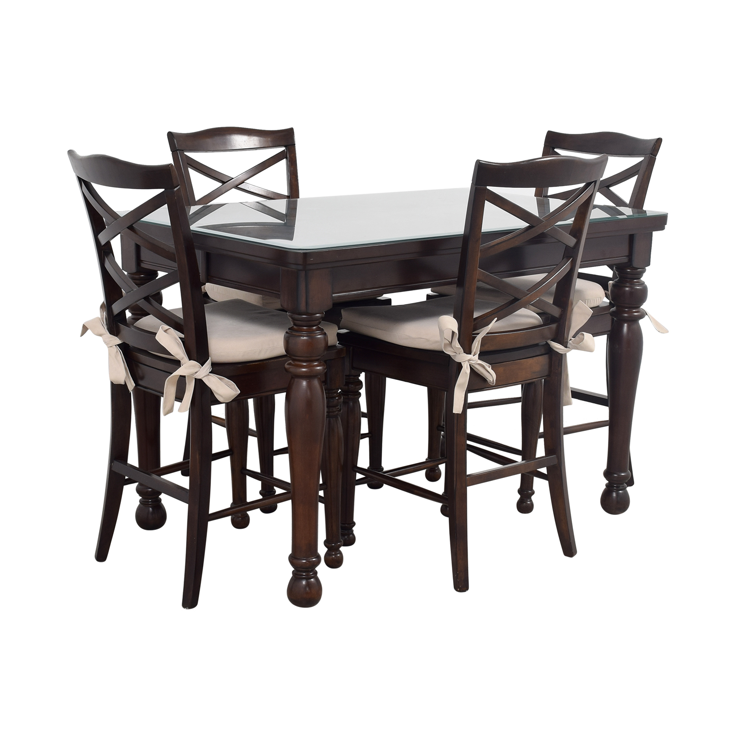 79% OFF   Ashley Furniture Ashley Furniture Dark Wood Dining Set With Seat  Cushions / Tables
