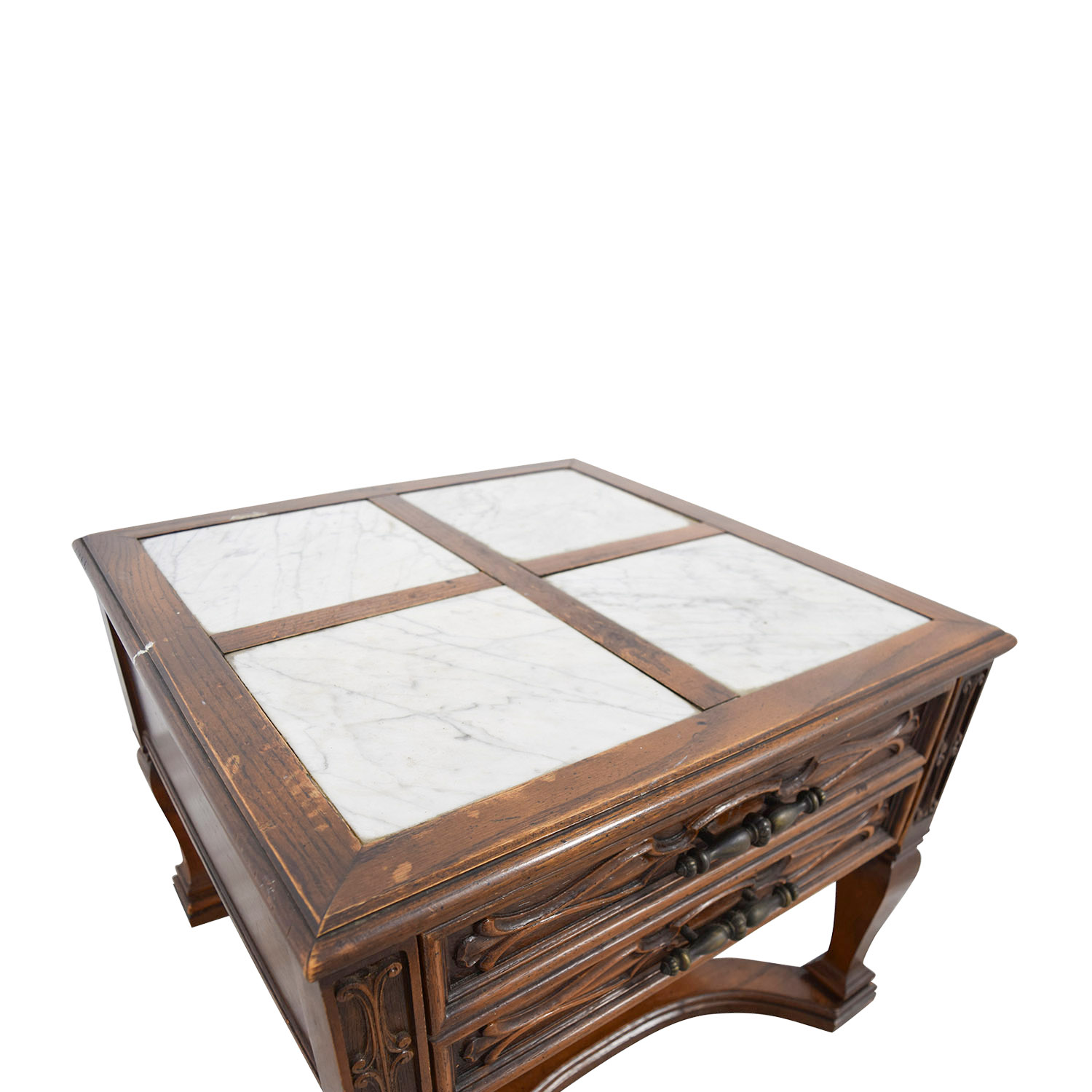 Mid-Century Marble Top Wood Single Drawer Side Table