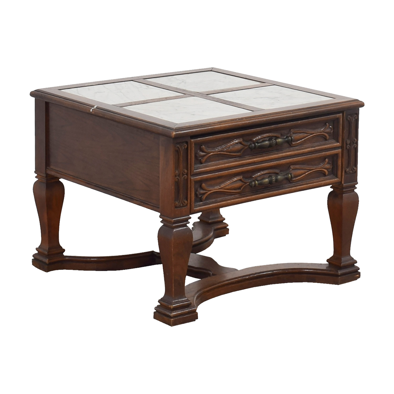 Mid-Century Marble Top Wood Single Drawer Side Table used