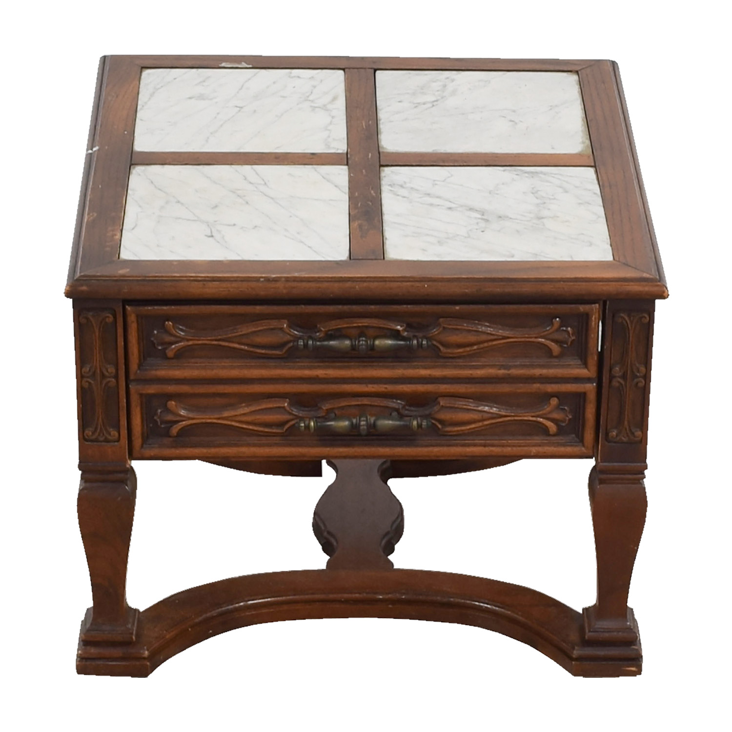 shop Mid-Century Marble Top Wood Single Drawer Side Table