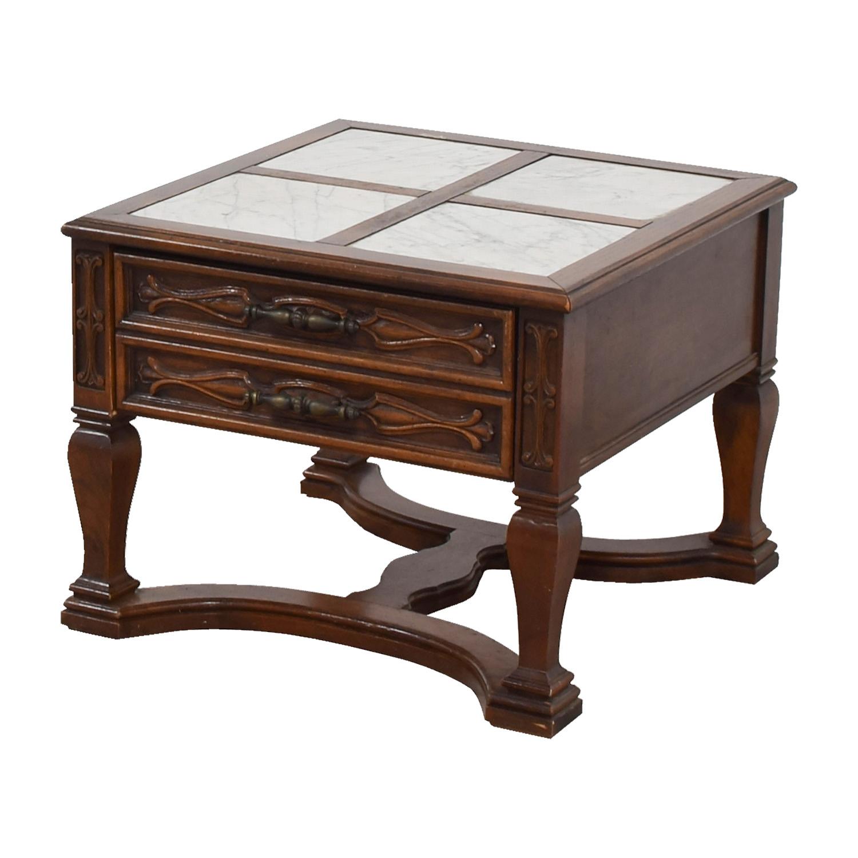 90 off mid century marble top wood single drawer side. Black Bedroom Furniture Sets. Home Design Ideas