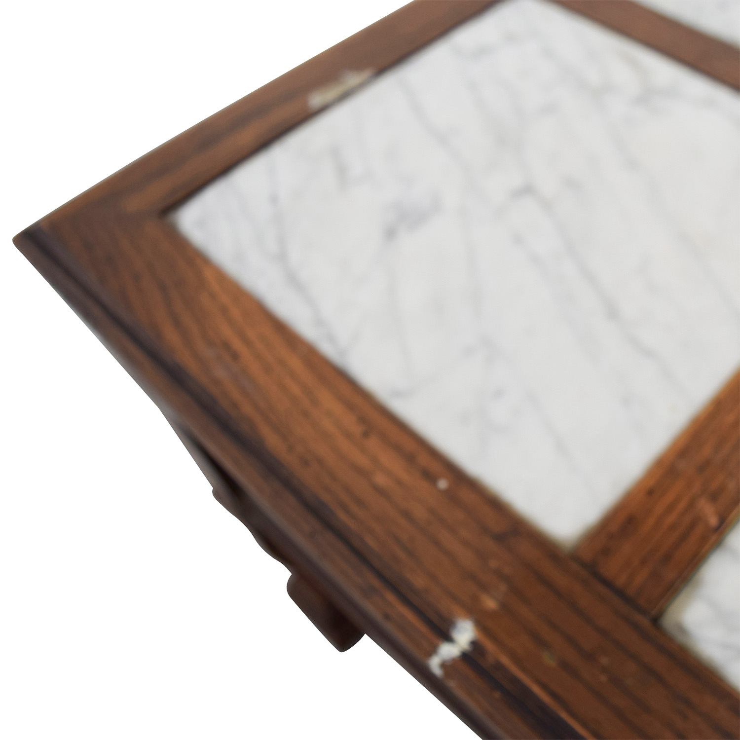 Mid-Century Marble Top Wood Single Drawer Side Table sale
