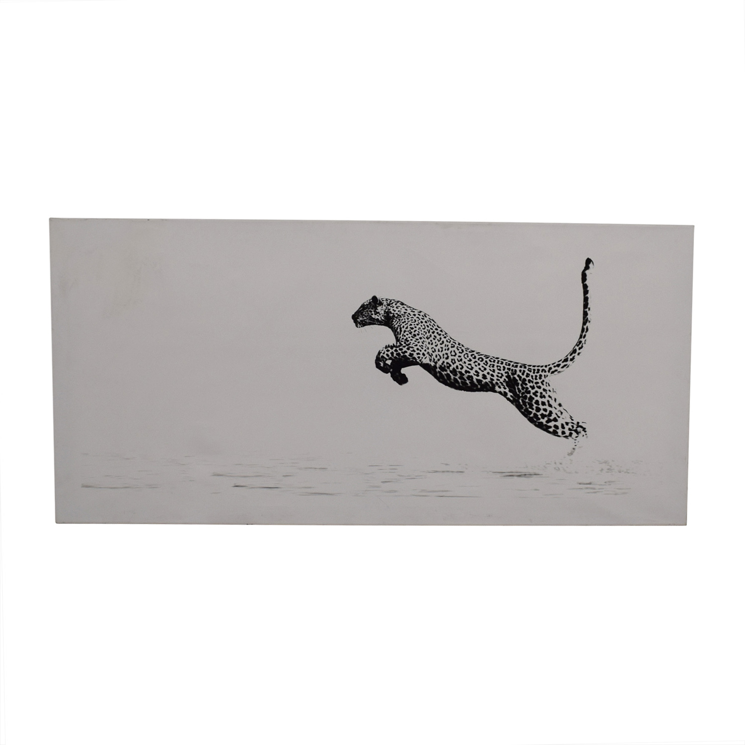 Charity Art Auction Black and White Leopard Painting used