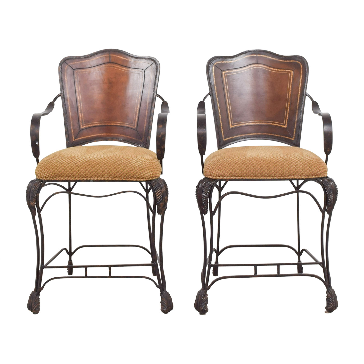 Custom Iron and Wood Upholstered Bar Stools discount
