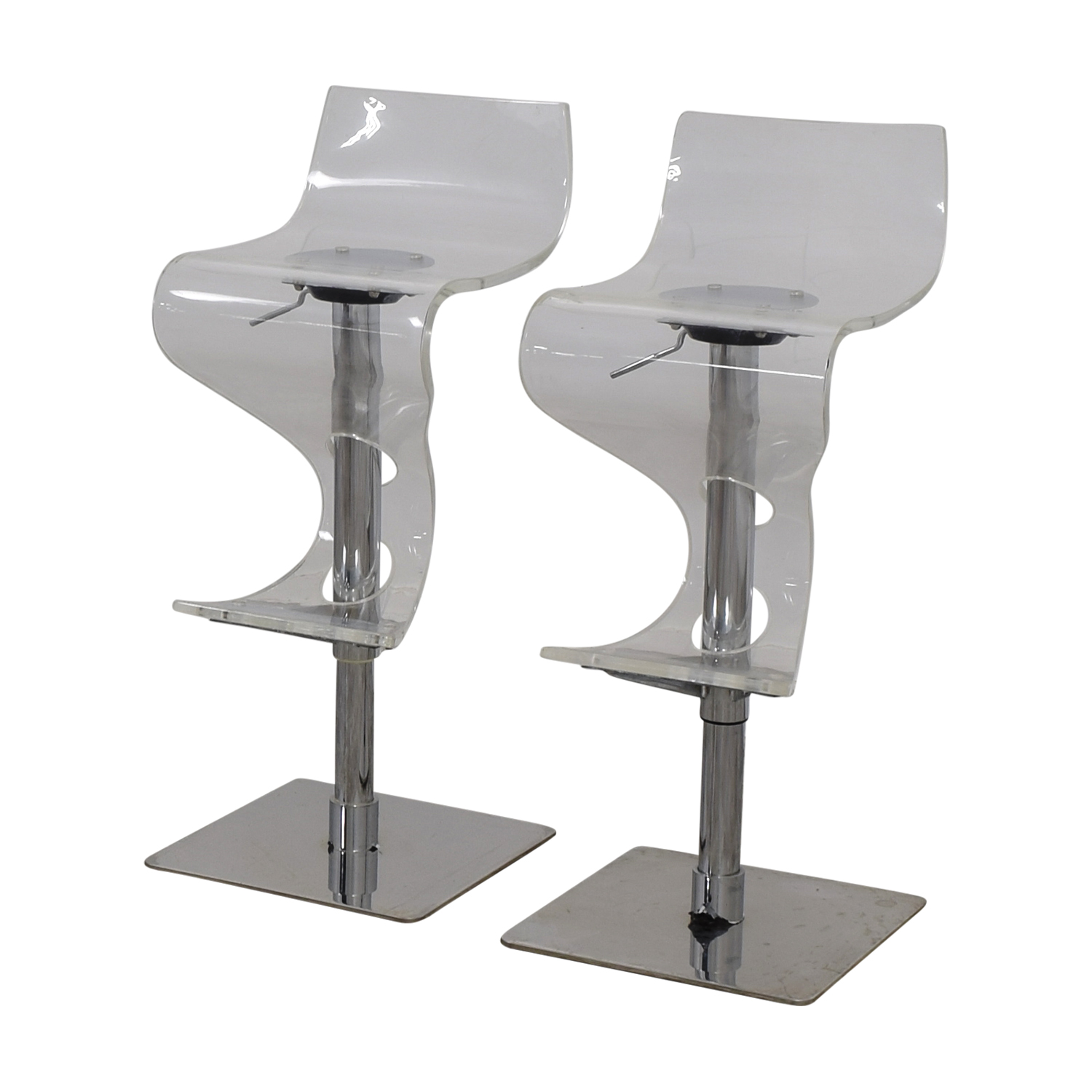 66 Off Ghost And Chrome Adjustable Bar Stools Chairs