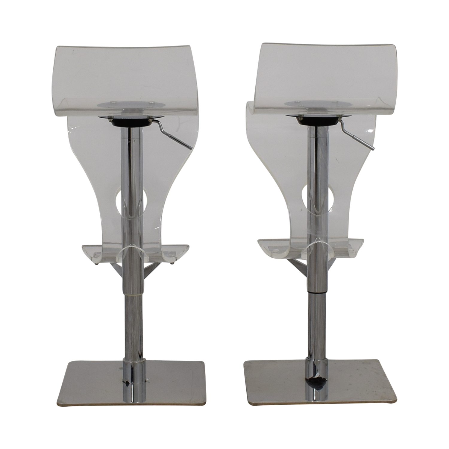 shop Ghost and Chrome Adjustable Bar Stools Chairs