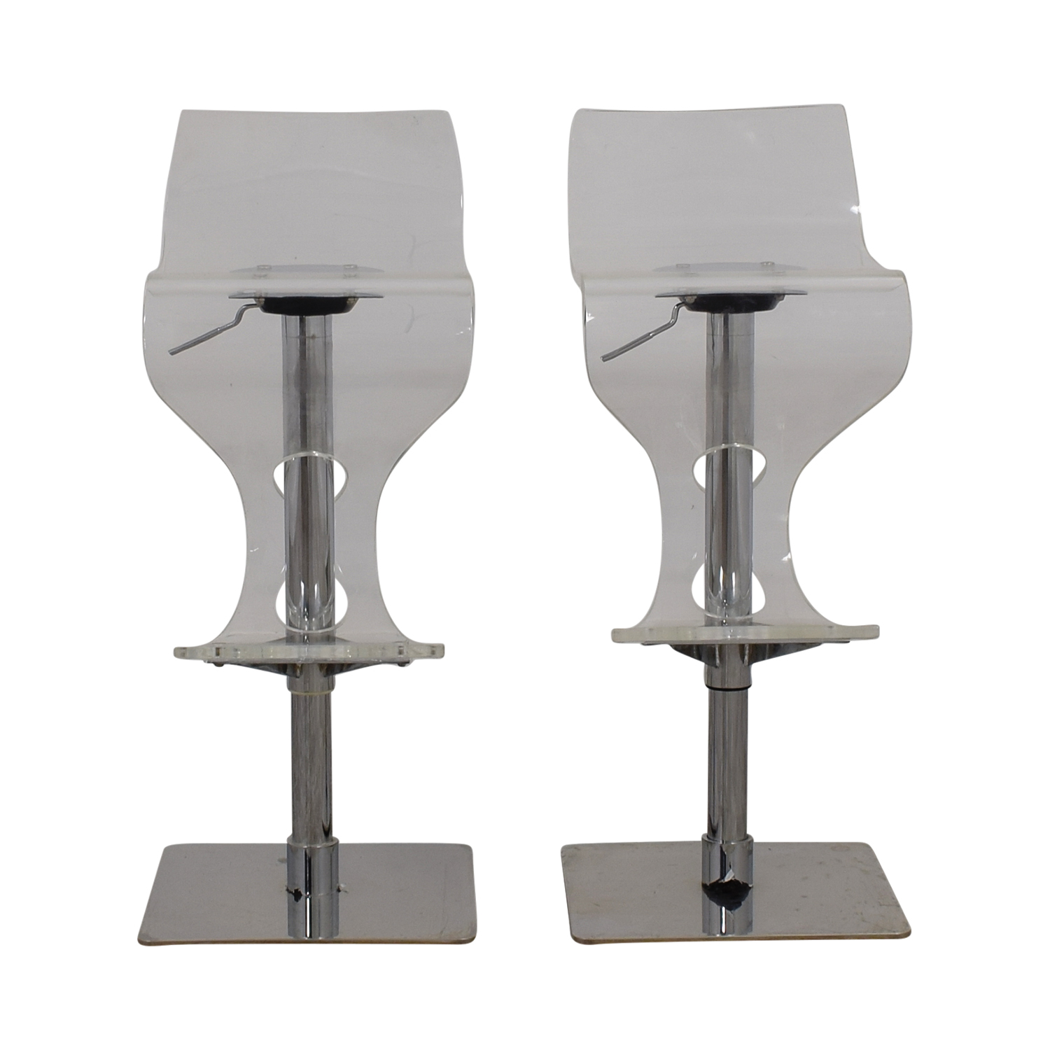 buy Ghost and Chrome Adjustable Bar Stools online