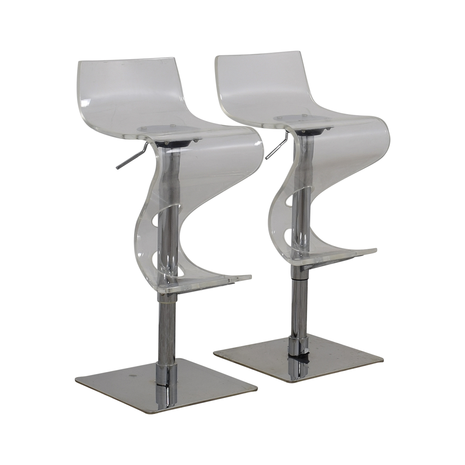 86 Off Ghost And Chrome Adjustable Bar Stools Chairs