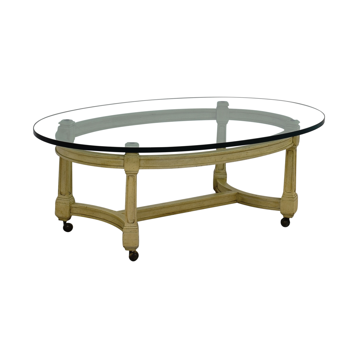 75 Off Off White And Glass Oval Coffee Table On Castors Tables
