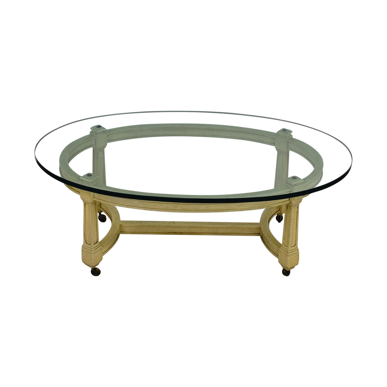 Off White and Glass Oval Coffee Table on Castors second hand