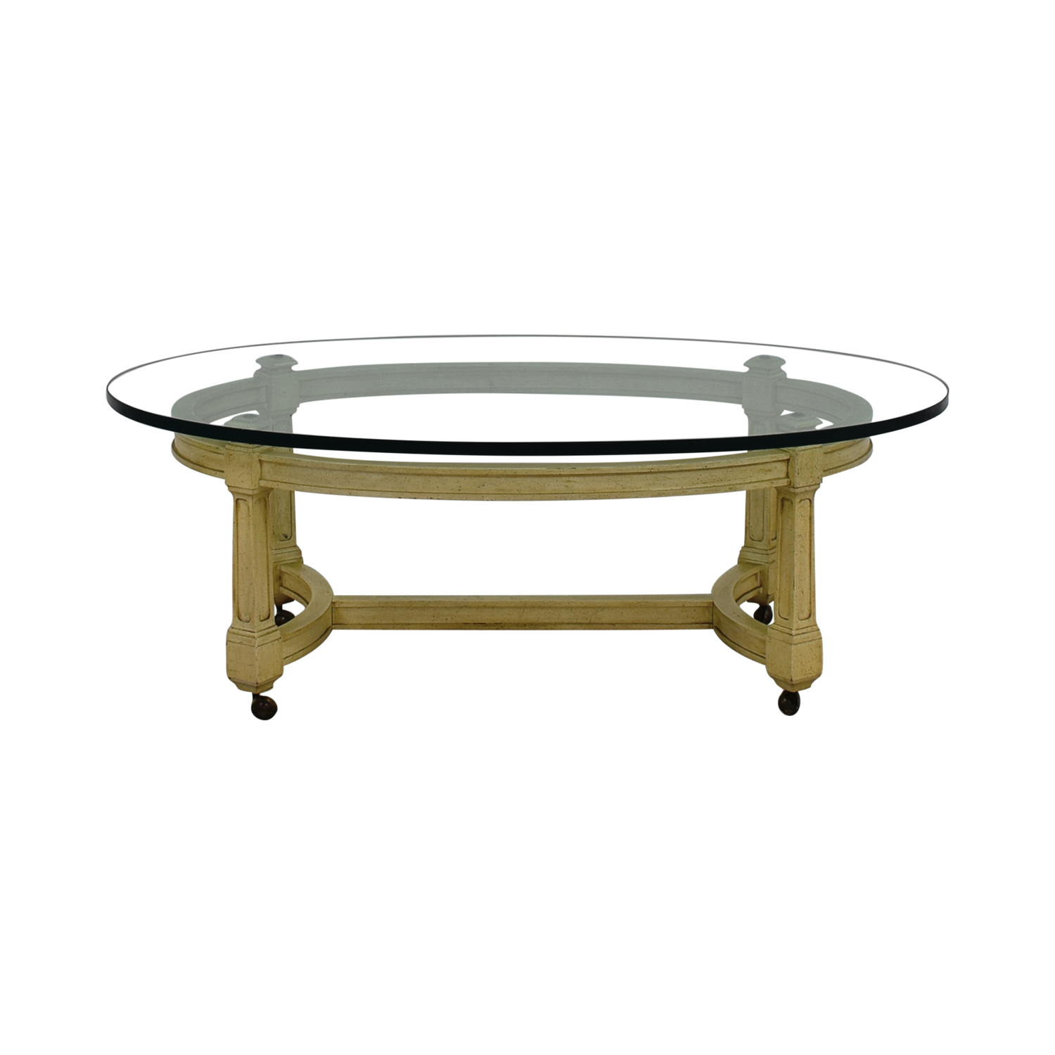 82 off off white and glass oval coffee table on castors for Oval glass coffee table
