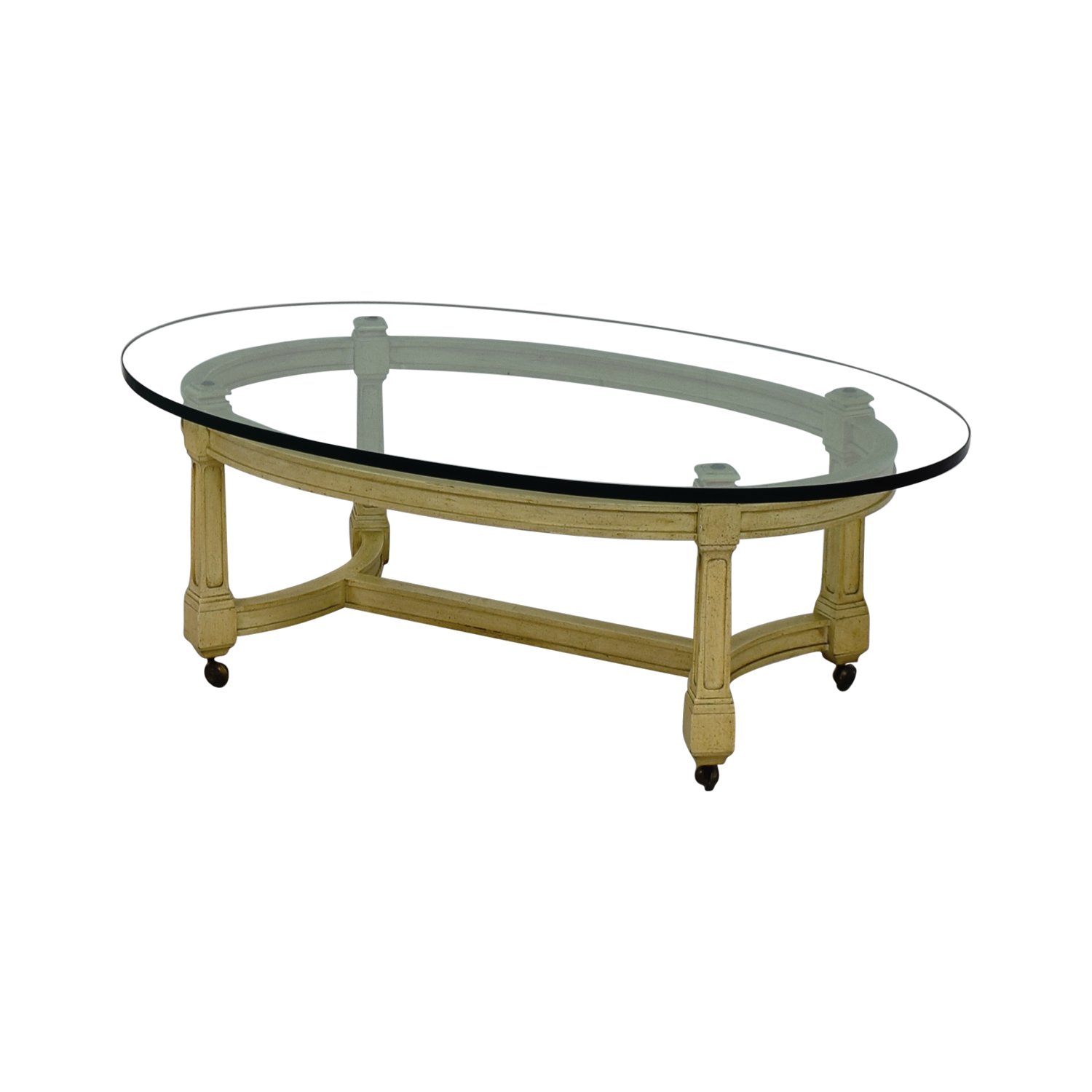 75 off off white and glass oval coffee table on castors tables Used glass coffee table