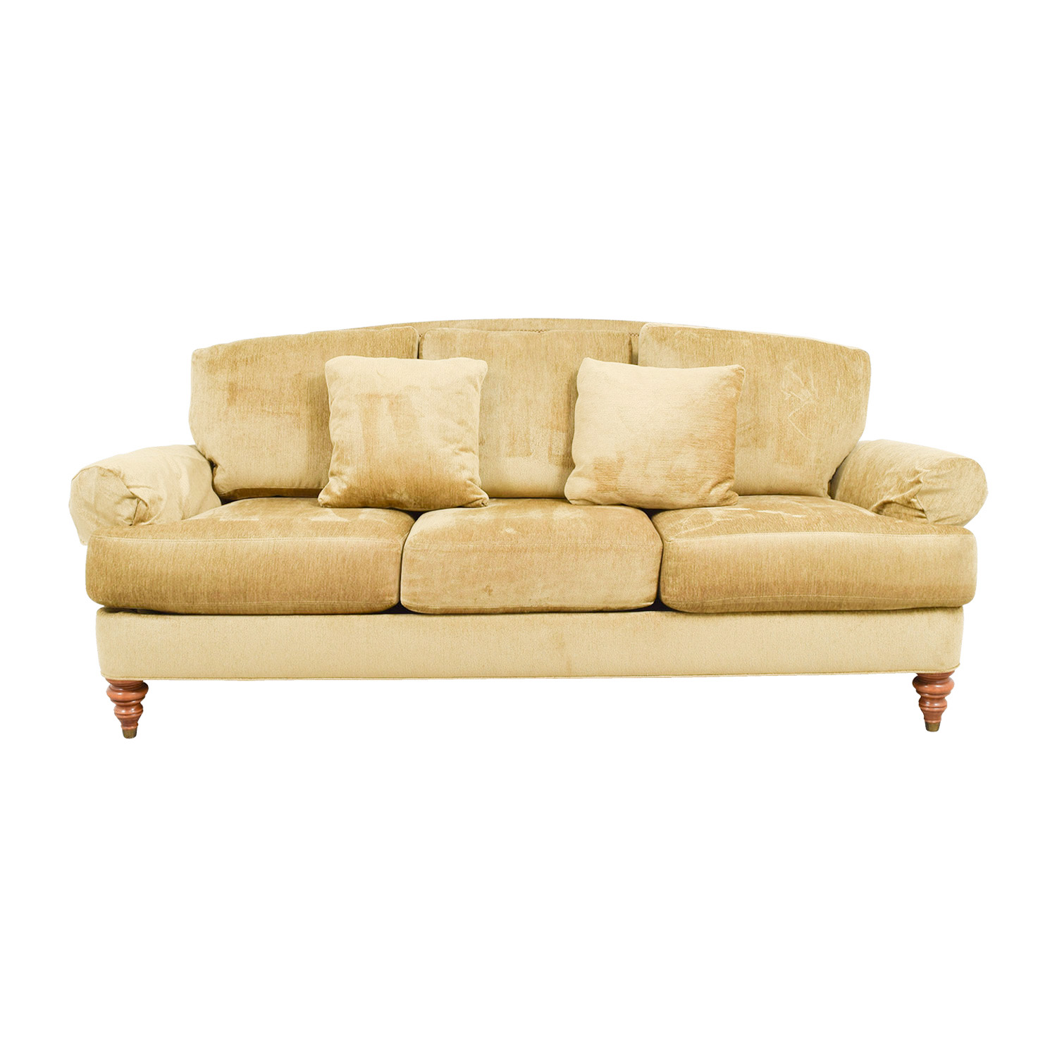 Ethan Allen Ethan Allen Hyde Gold Three Cushion Comfort Sofa For Sale ...