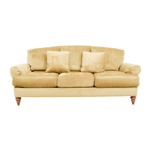 buy Ethan Allen Hyde Gold Three-Cushion Comfort Sofa Ethan Allen