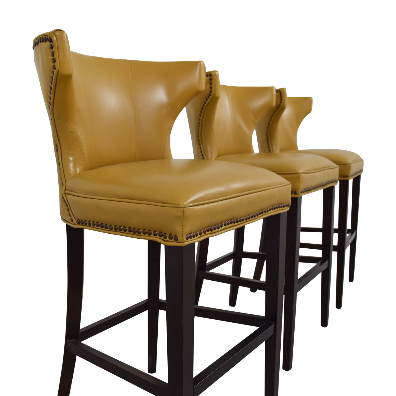 Yellow Leather Bar Stools - Holiday Hours