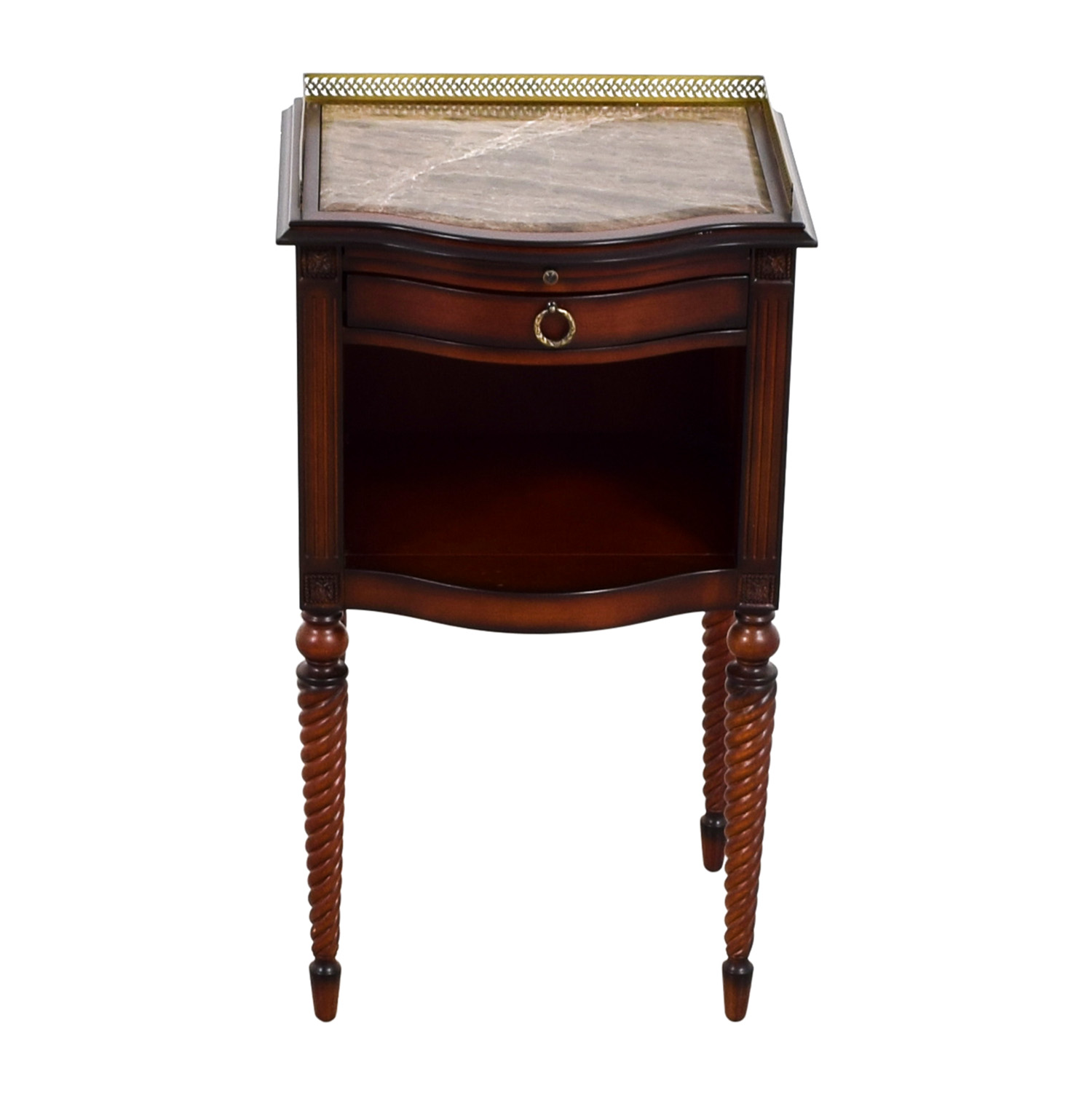 ... Bombay Bombay Marble Top With Gold Trim Wood Accent Table Second Hand  ...