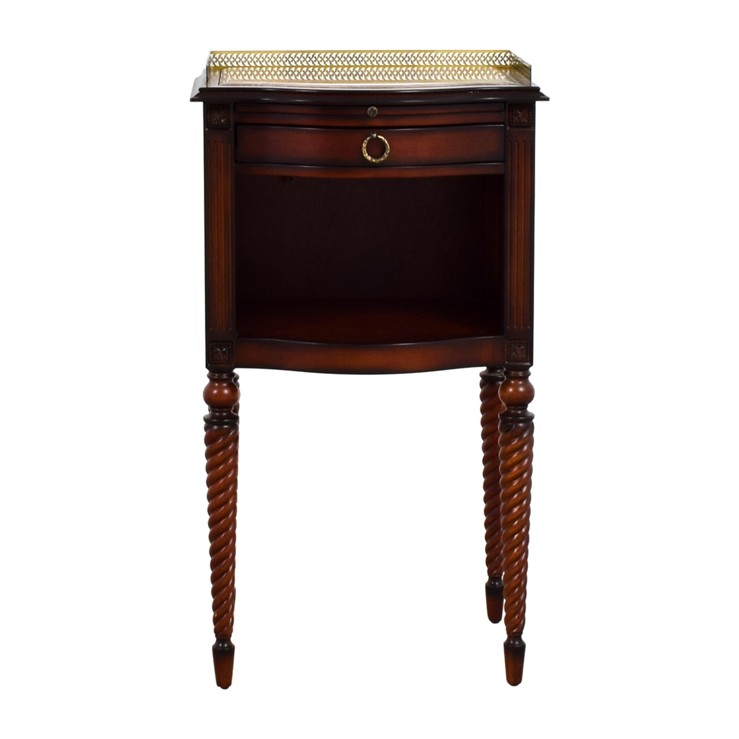 Bombay Bombay Marble Top With Gold Trim Wood Accent Table nyc