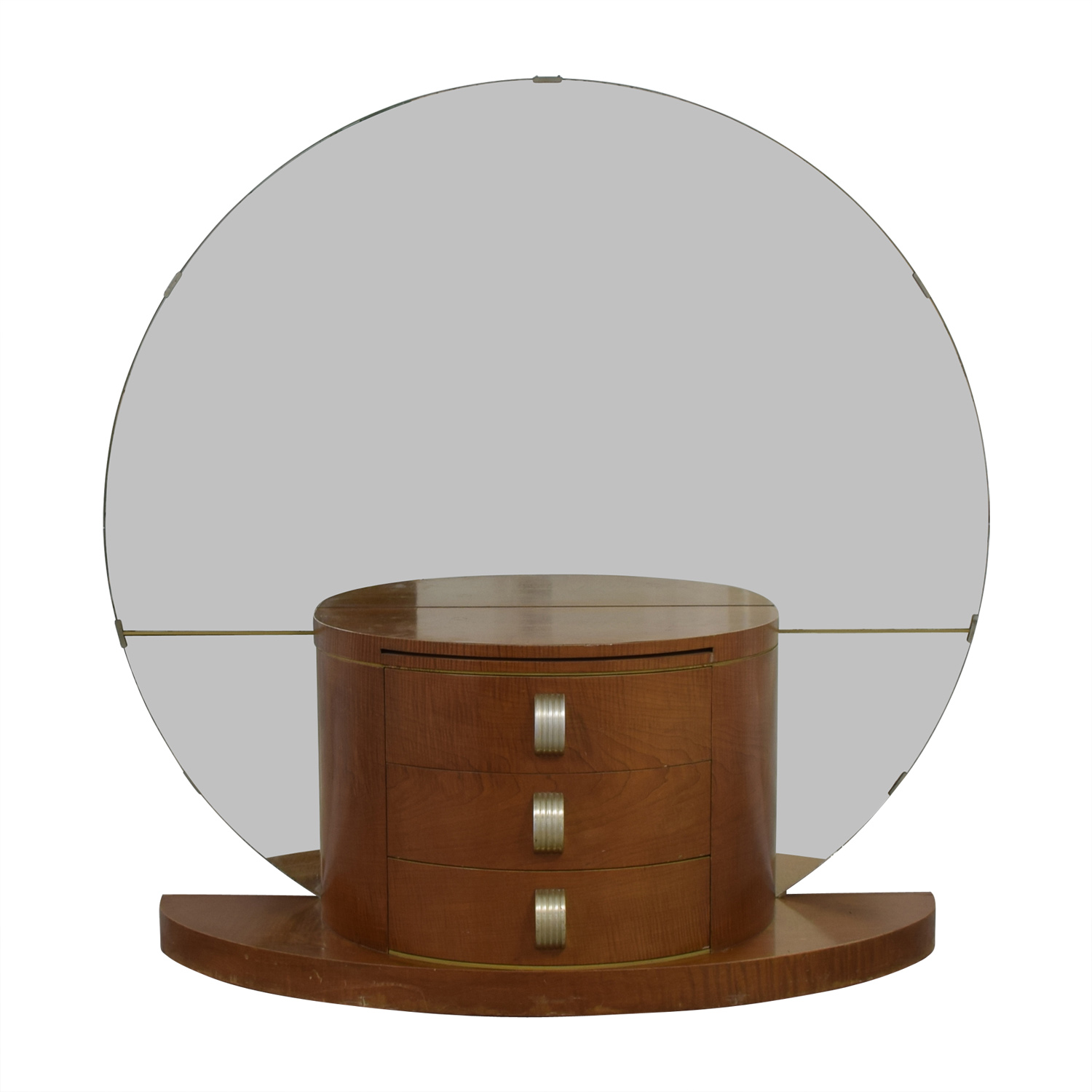 Modernage Art Deco Vanity with Large Round Mirror Modernage