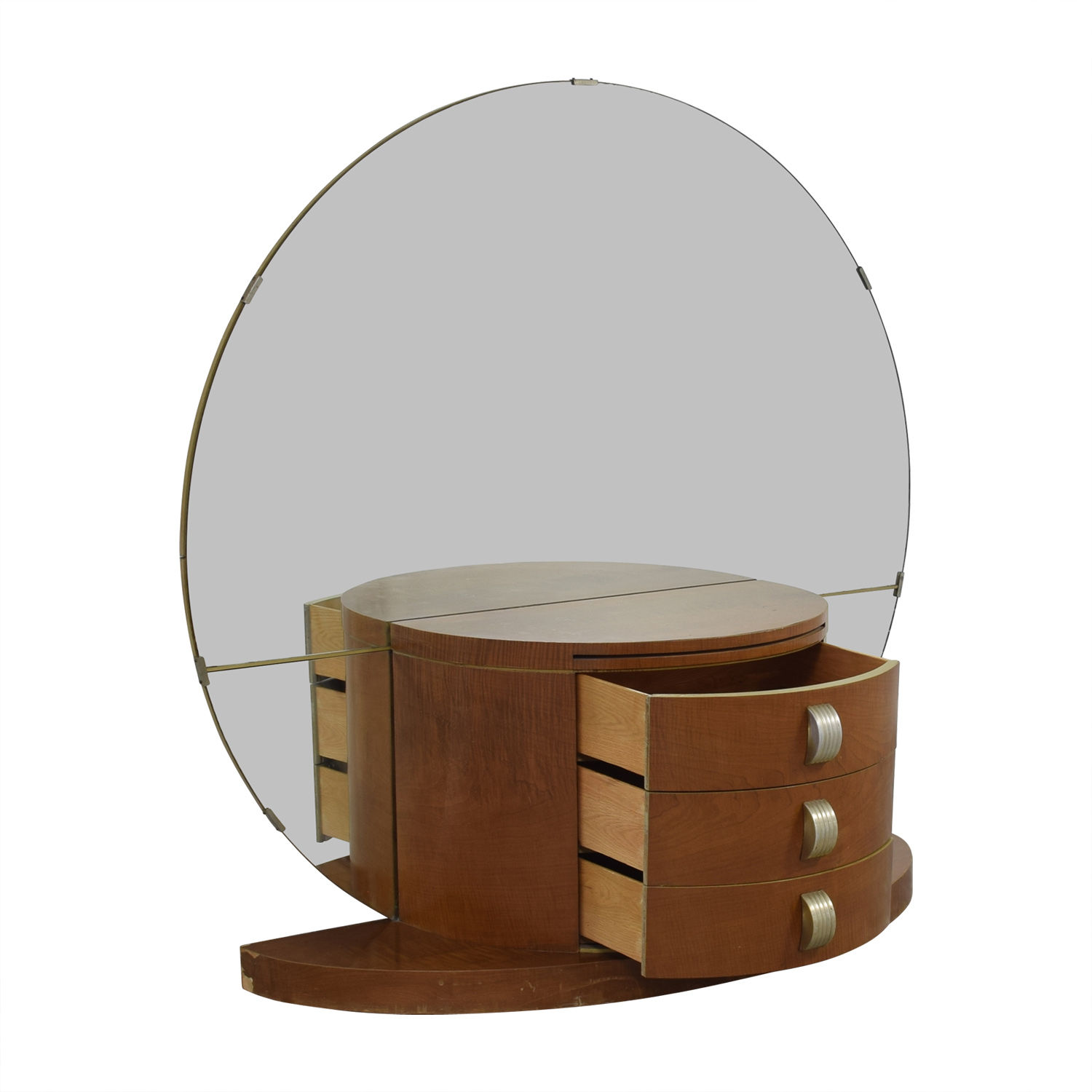 Modernage Art Deco Vanity With Large Round Mirror For
