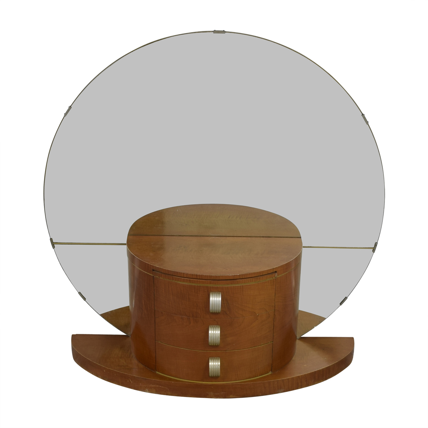 Modernage Modernage Art Deco Vanity with Large Round Mirror dimensions