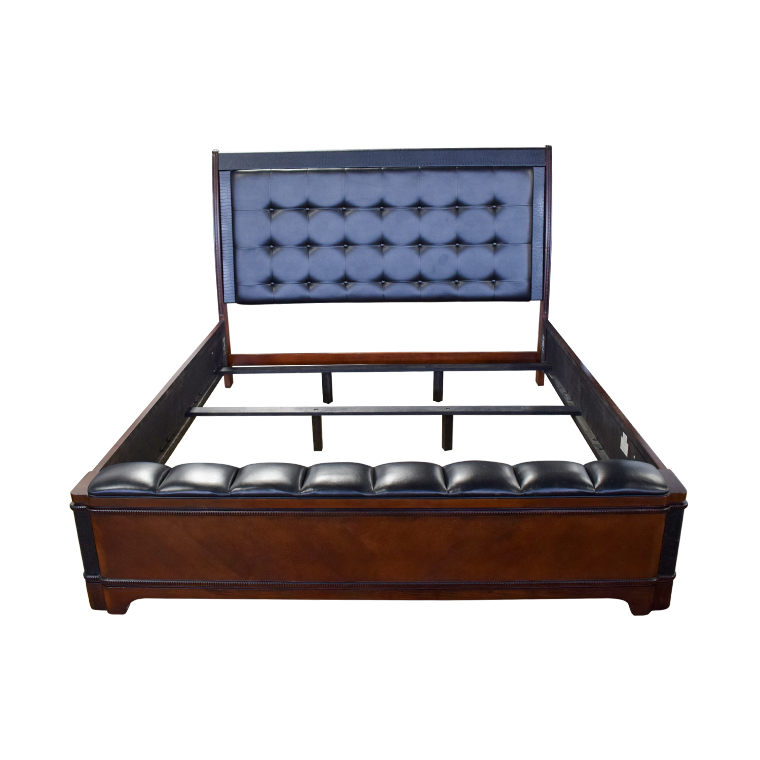 Raymour and Flanigan Raymour and Flanigan Dundee Black Leather and Wood King Bed Frame discount