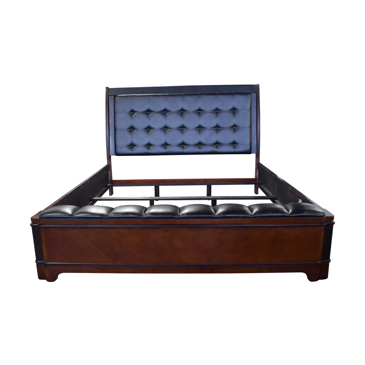Raymour and Flanigan Raymour and Flanigan Dundee Black Leather and Wood King Bed Frame Beds