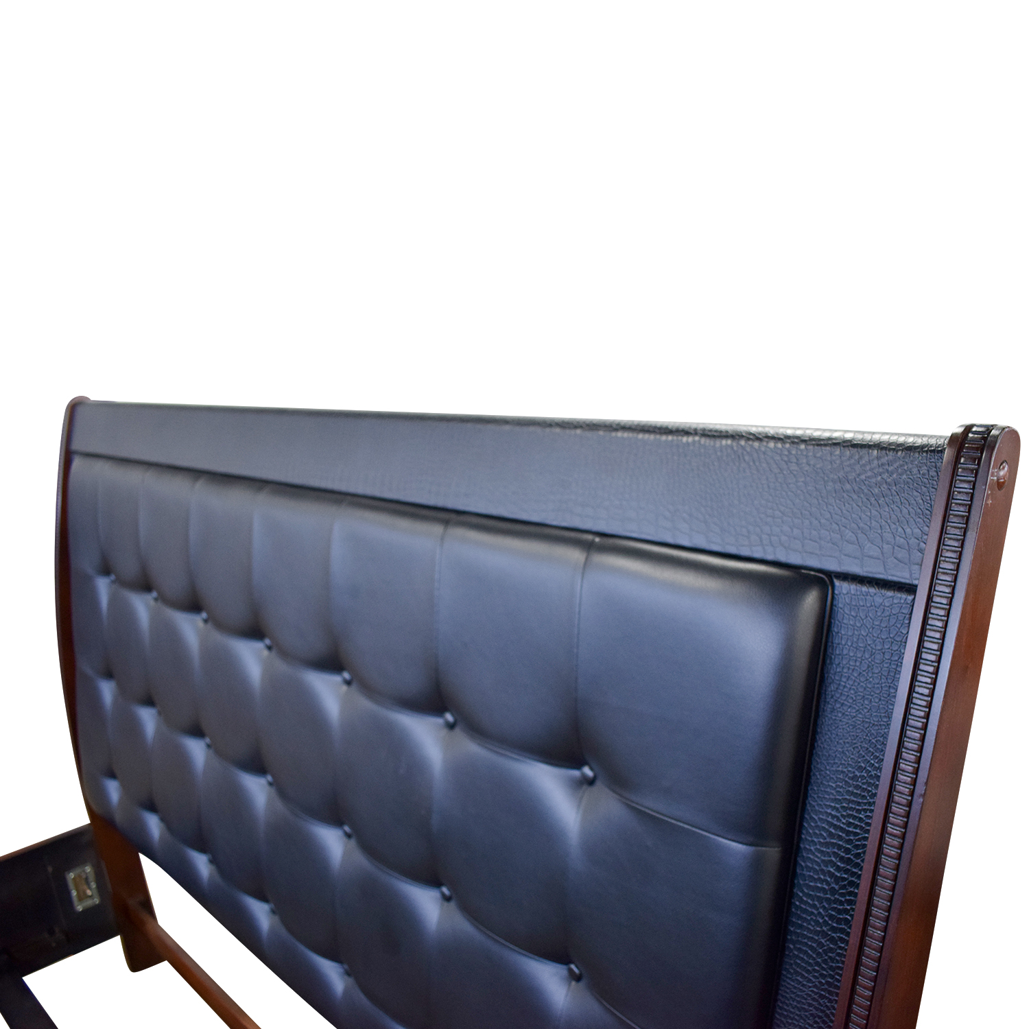 shop Raymour and Flanigan Dundee Black Leather and Wood King Bed Frame Raymour and Flanigan