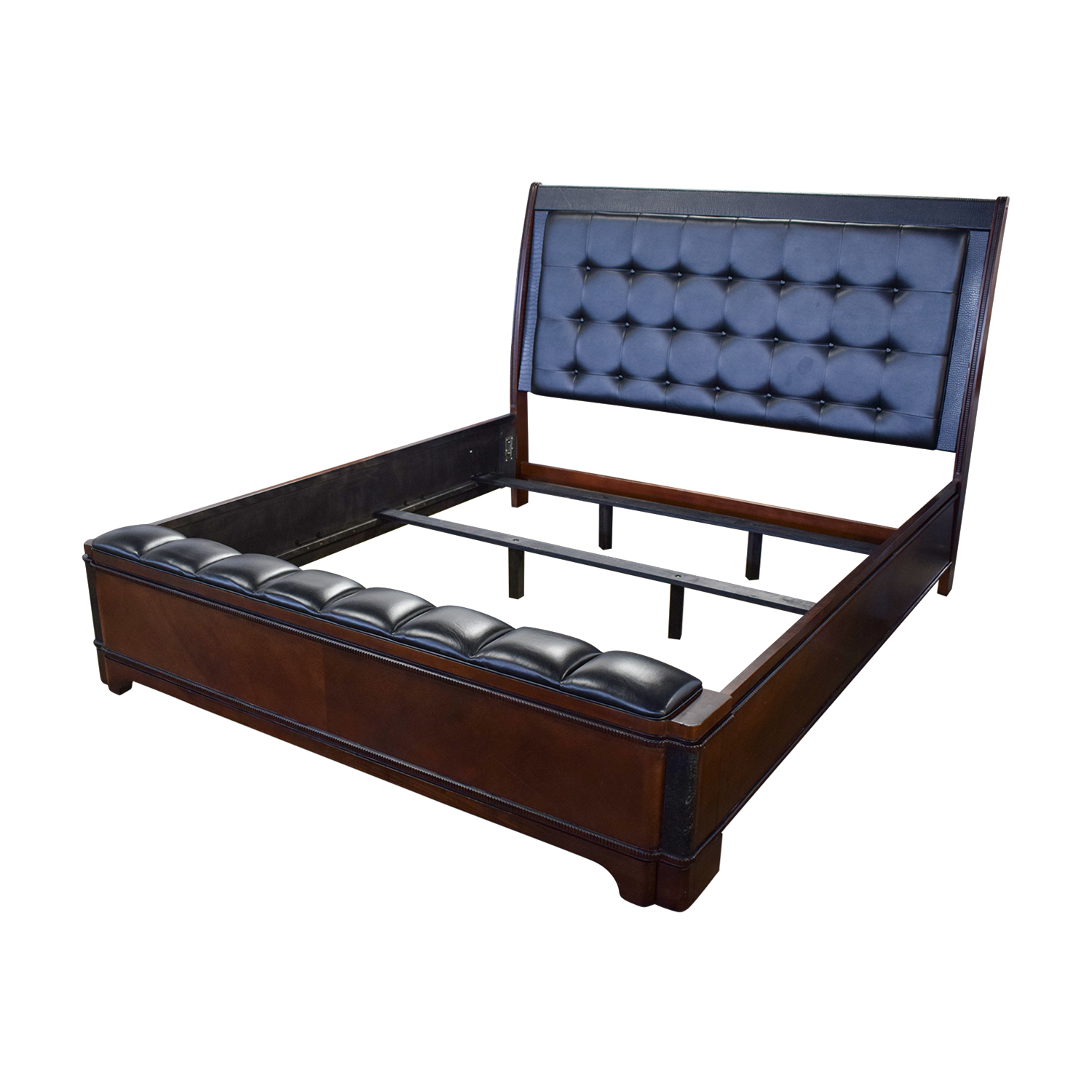 Raymour and Flanigan Dundee Black Leather and Wood King Bed Frame Raymour and Flanigan