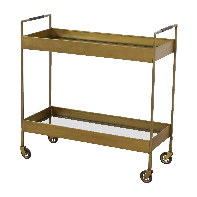 75% OFF - Crate & Barrel Crate & Barrel Libations Antique Brass Bar Cart /  Tables