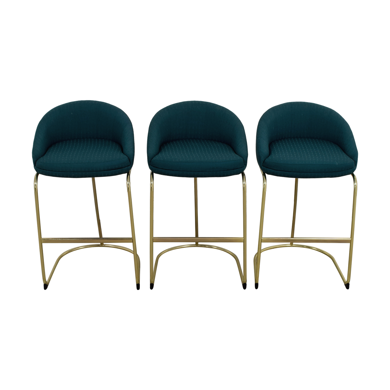 57 Off Vintage Teal Upholstered Bar Stools Chairs