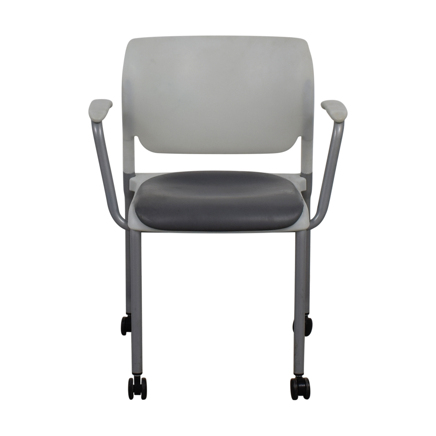 SitOnIt SitOnIt White and Grey Side Chair on Castors nj