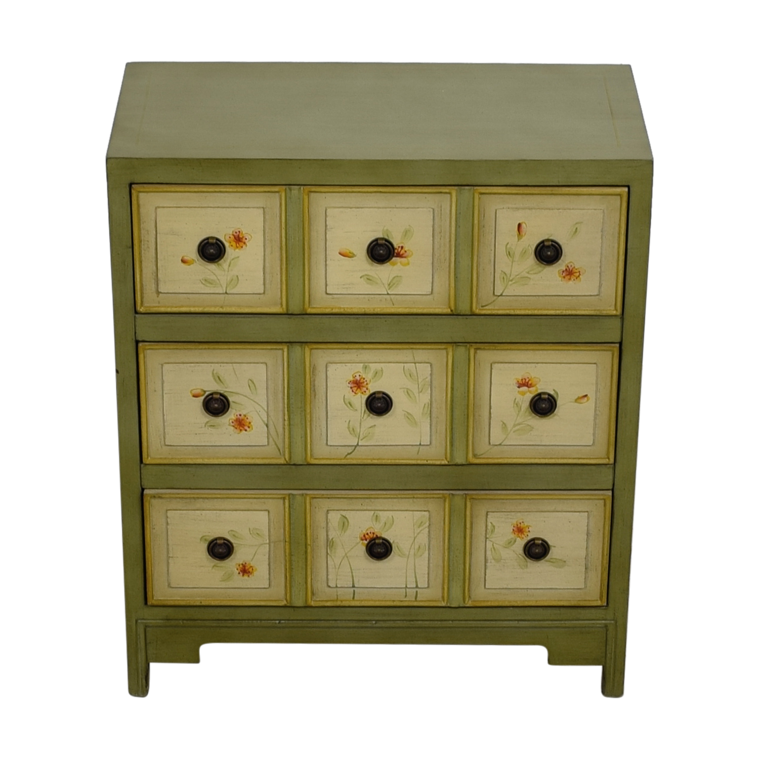 Raymour & Flanigan Raymour & Flanigan Green Floral Three-Drawer Cabinet used