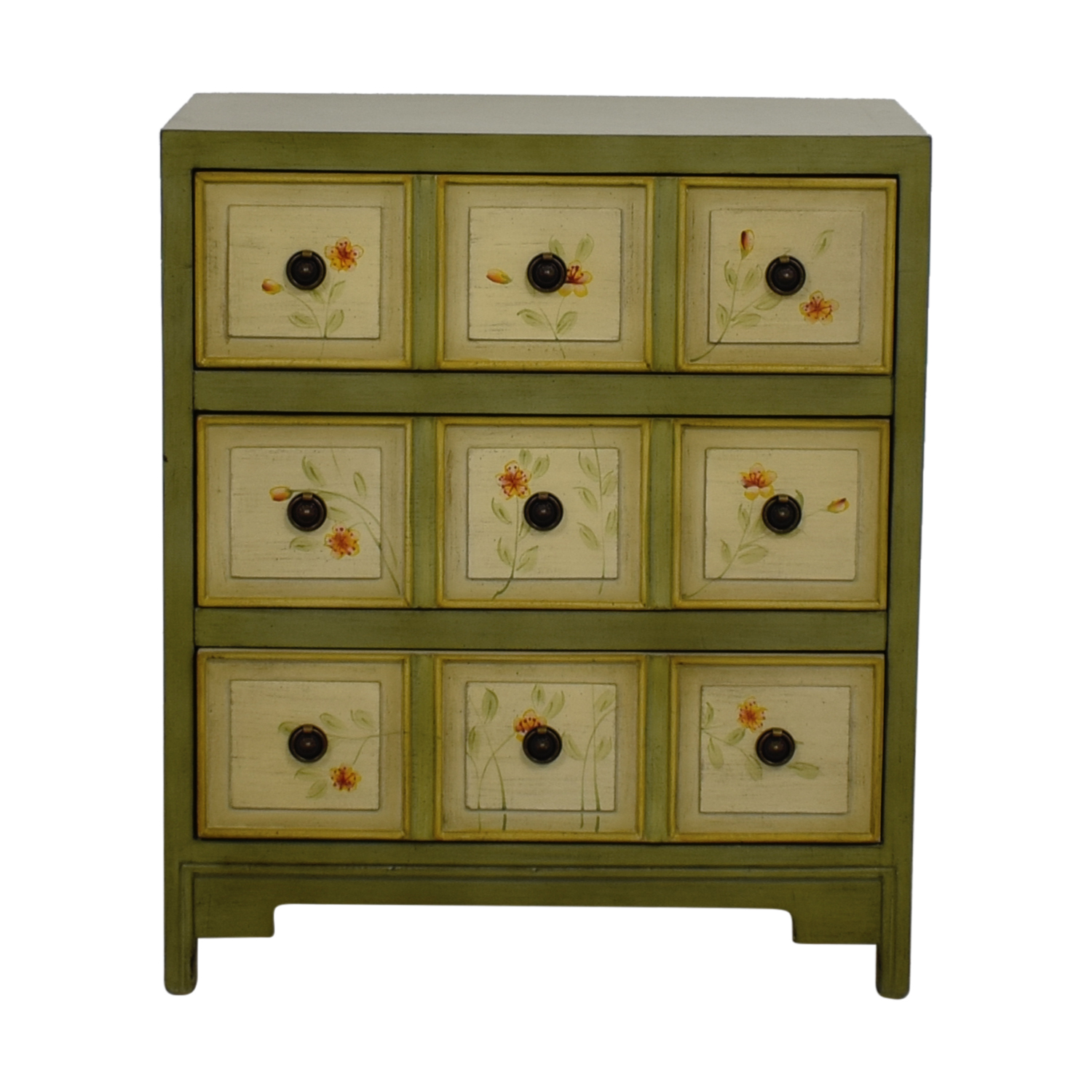 Raymour & Flanigan Green Floral Three-Drawer Cabinet Raymour & Flanigan