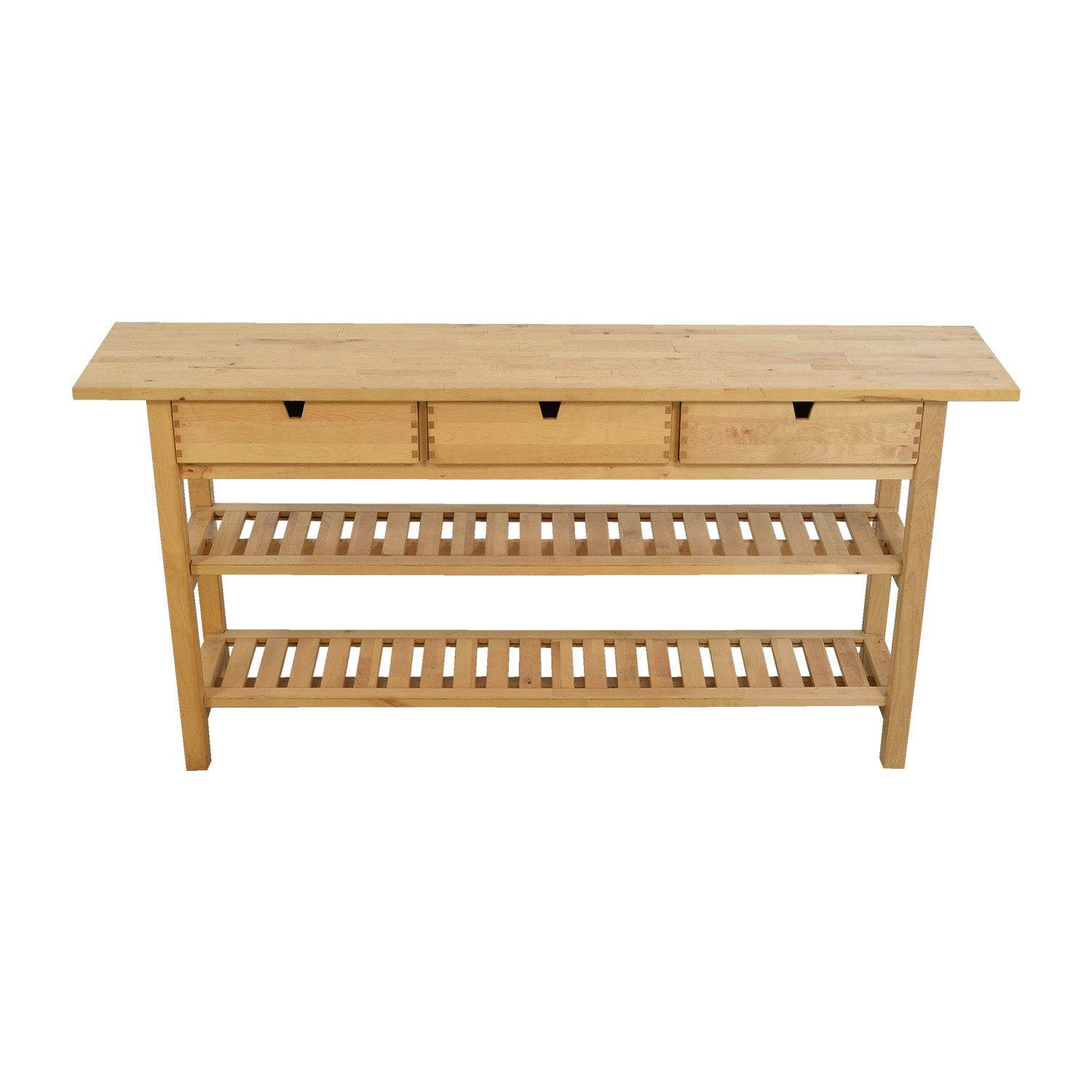 shop IKEA Forhija Natural Birch Three-Drawer Island Table IKEA Utility Tables