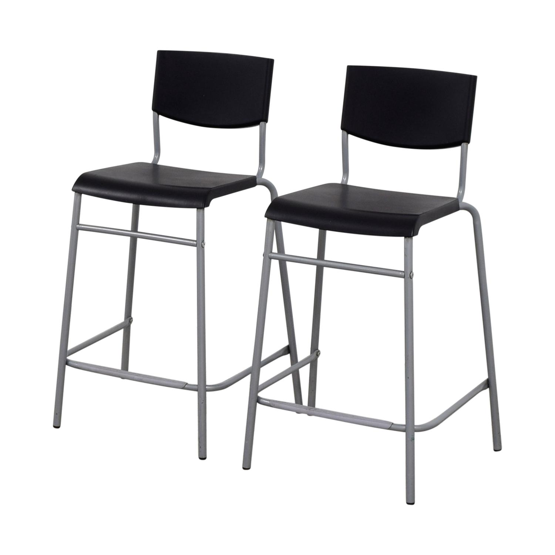 50 off ikea ikea stig black bar stools chairs. Black Bedroom Furniture Sets. Home Design Ideas