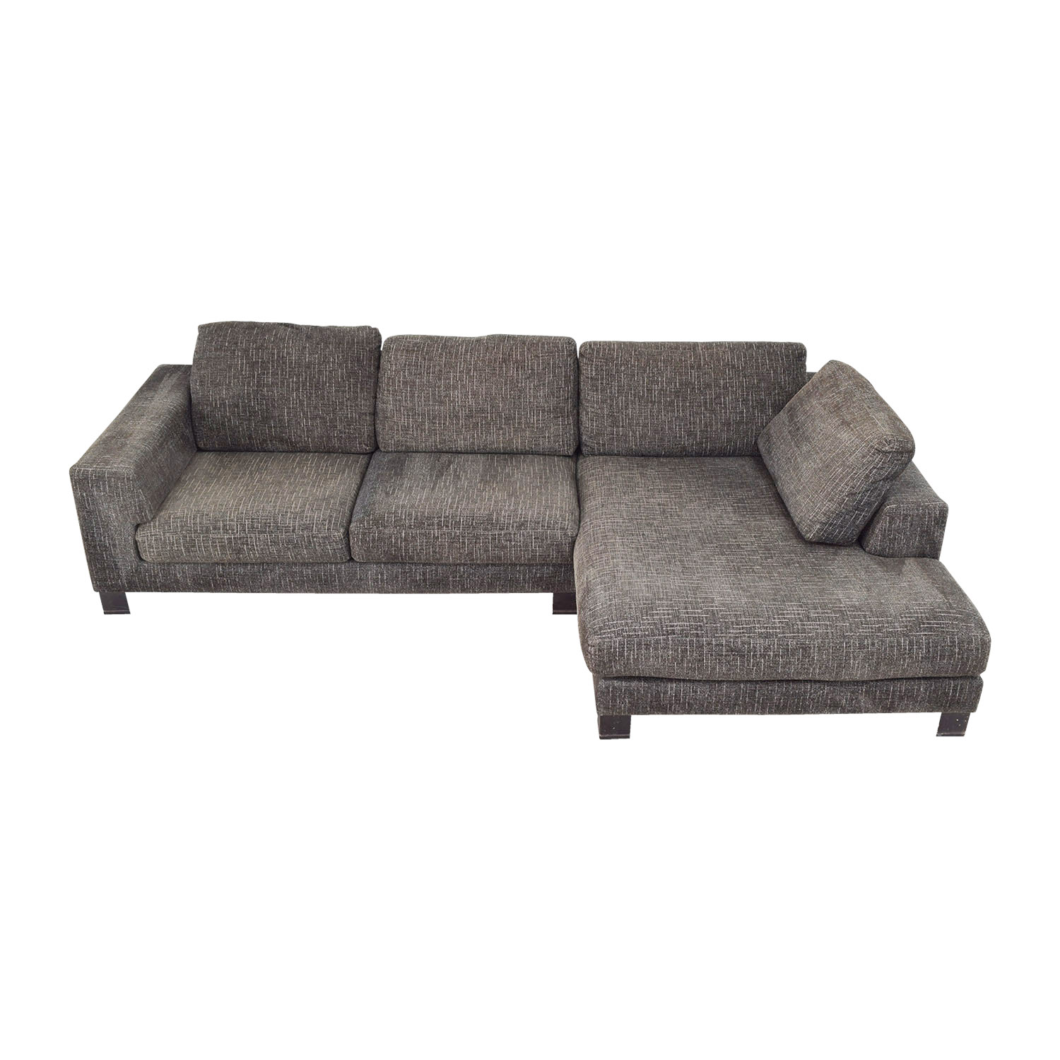 74 Off Grey Tweed Right Arm Chaise Sectional Sofas