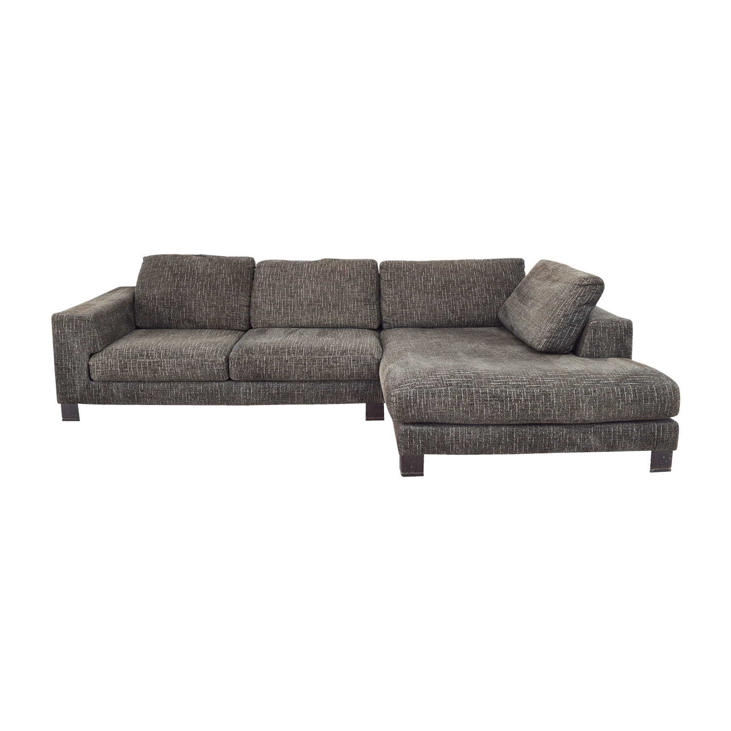 Cool 74 Off Grey Tweed Right Arm Chaise Sectional Sofas Pabps2019 Chair Design Images Pabps2019Com