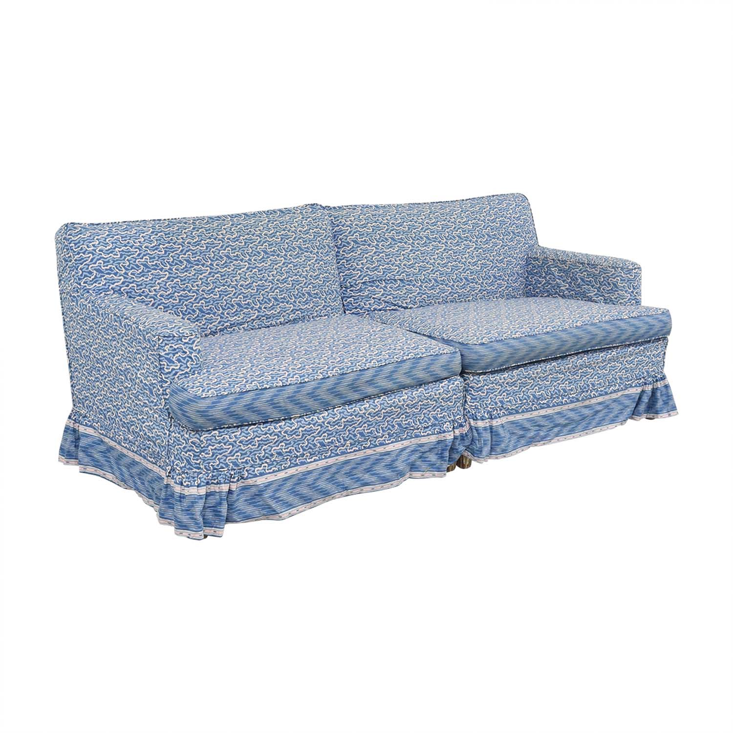 Blue And White Custom Upholstered Couch / Sofas